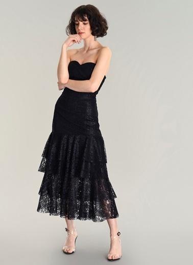 Agenda Straplez Dantel Volanlı Elbise Siyah